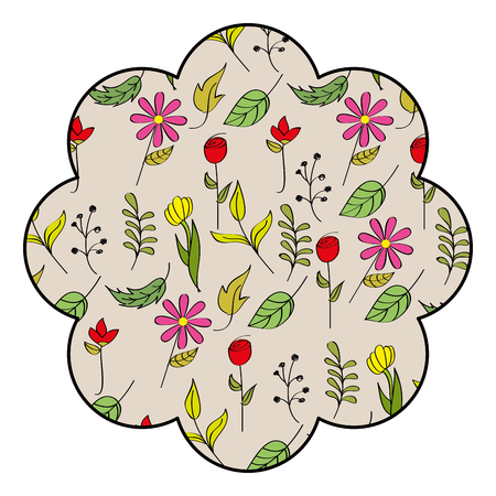 stamp pattern spring background flower leaves branch decoration vector illustration