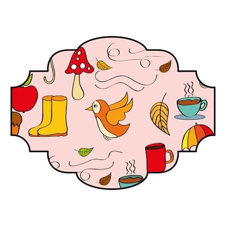 vintage label decoration autumn seasonal vector illustration Stock Illustratie