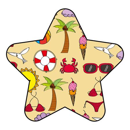 Star label summer season with beach elements vector illustration