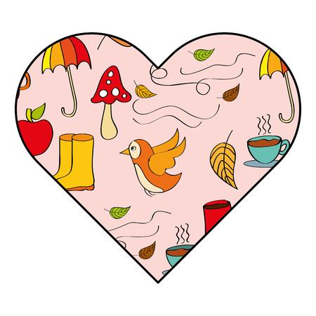 Heart decoration autumn season elements vector illustration Archivio Fotografico - 96431493