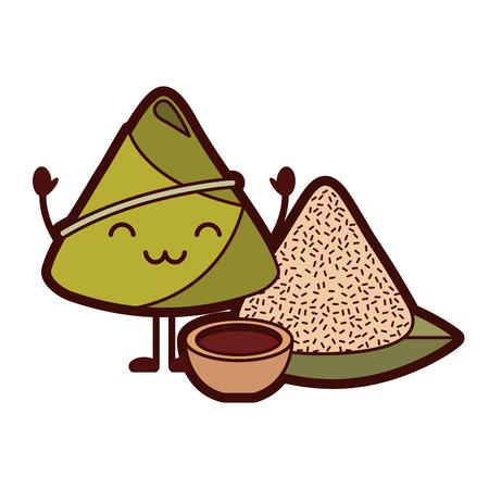 kawaii rice dumpling with sauce cartoon vector illustration