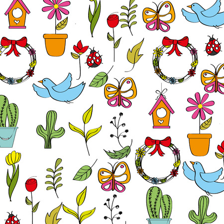 spring background with flowers butterflies ladybugs birds and leafs vector illustration Иллюстрация