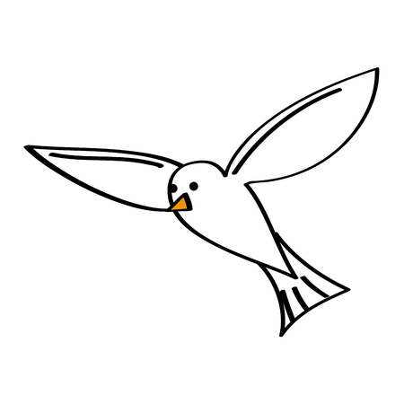 Flying sea white bird seagull animal vector illustration