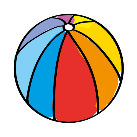 Beach ball rubber toy play image vector illustration Çizim