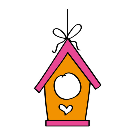 Wooden bird house hanging of a rope vector illustration Ilustrace