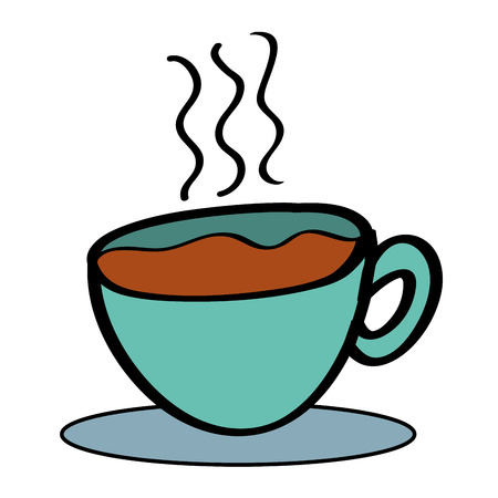 Hot coffee cup with dish beverage vector illustration