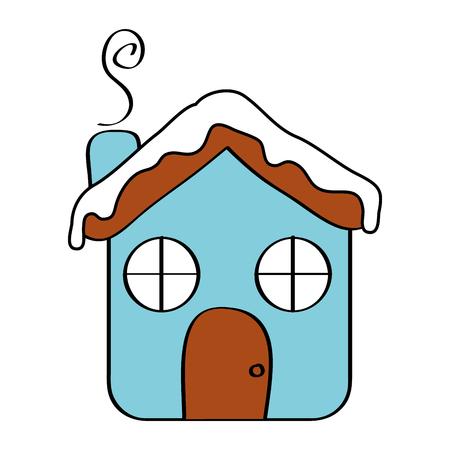 Haus Ingwer Brot Lebensmittel Weihnachten Winter Vektor-Illustration Standard-Bild - 96505405