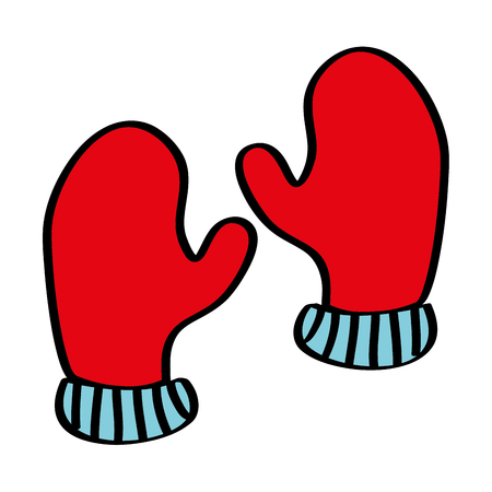 pair winter gloves clothes warm image vector illustration