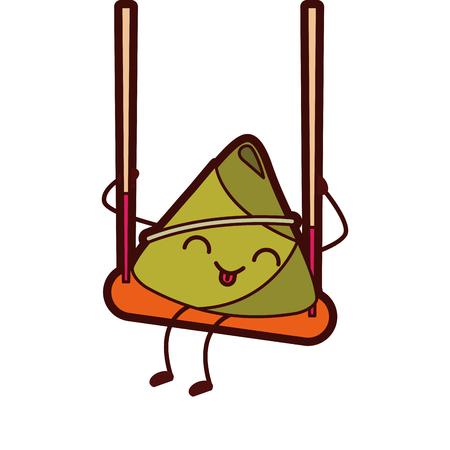 kawaii happy rice dumpling in swing play cartoon vector illustration