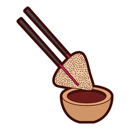 dumpling rice plate and soy sauce with sticks traditional vector illustration Çizim