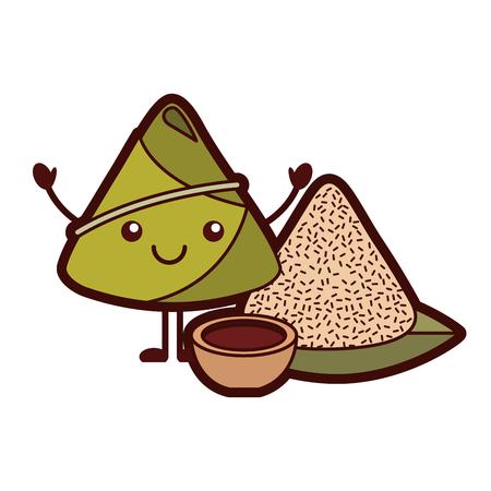ソース漫画のベクトルイラストと可愛い幸せな米餃子  イラスト・ベクター素材