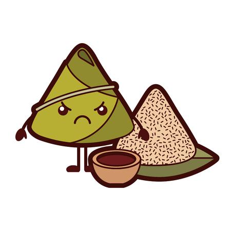 kawaii angry rice dumpling with sauce cartoon vector illustration