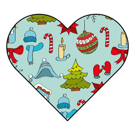 heart decoration season decoration winter season icons vector illustration