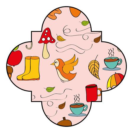 label decoration autumn seasonal elements vector illustration Stock Illustratie