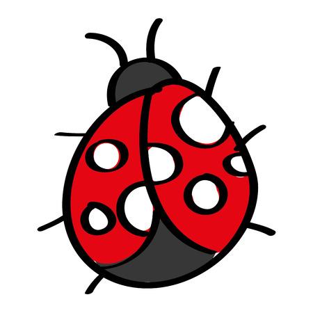 schattige insecten lieveheersbeestje dieren in het wild pictogram vector illustratie Stock Illustratie