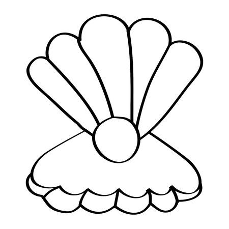 真珠海洋生物ベクトルイラストアウトラインデザインとオープン貝殻  イラスト・ベクター素材