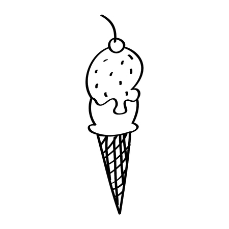 ice cream cone waffle cherry fruit sweet vector illustration outline design Archivio Fotografico - 96527563