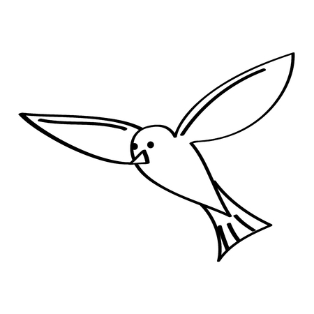 flying sea white bird seagull animal vector illustration outline design Illustration