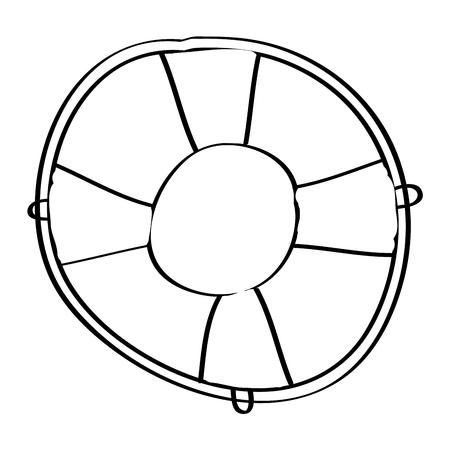 life buoy with rope assistance or help symbol vector illustration outline design