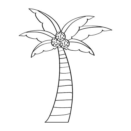 ヤシココナッツ植物の木のビーチフローラベクトルイラストアウトラインデザイン