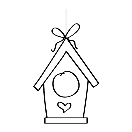 wooden bird house hanging of a rope vector illustration outline design Çizim