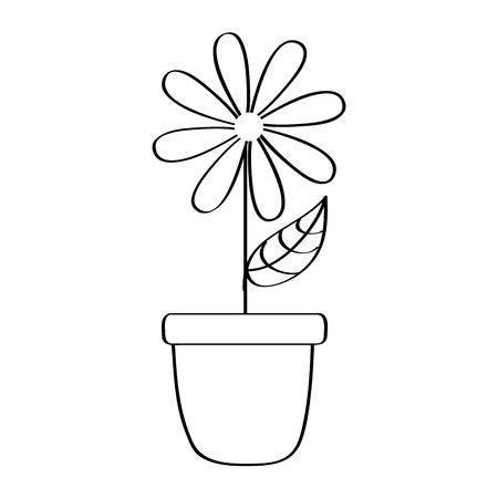 potted daisy flower petal leaves decoration vector illustration outline design Illustration