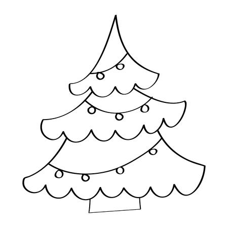 christmas tree light decoration winter element vector illustration outline design
