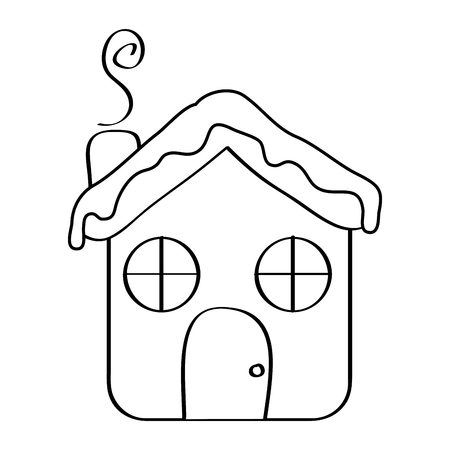 house ginger bread food christmas winter vector illustration outline design 일러스트