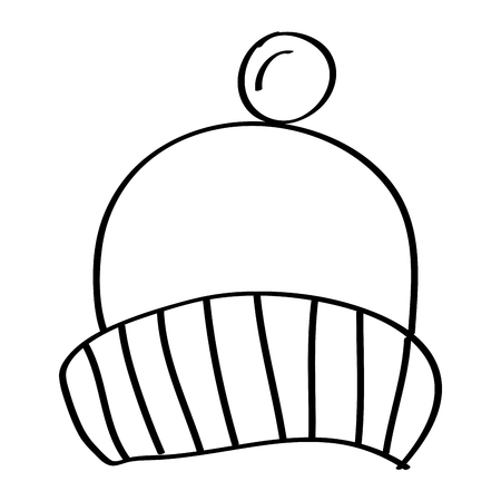 winter knitted hat with pompon accessory vector illustration outline design