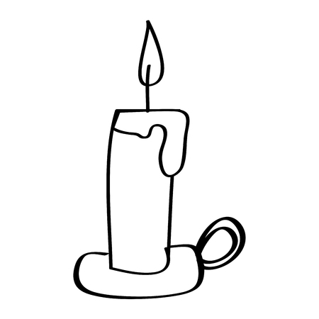 candle with chandelier burning light vector illustration outline design