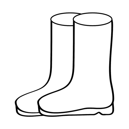 pair rubber boots clothes winter season fashion vector illustration outline design