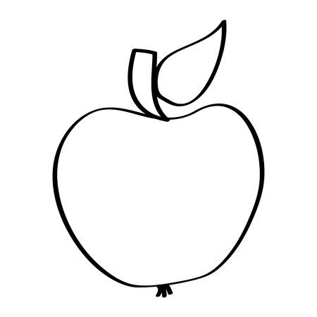 fruit tasty apple delicious food vector illustration outline design