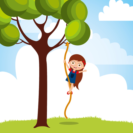 beautiful girl climbing up with rope the tree vector illustration