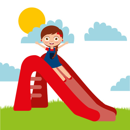 little girl playing on slider park landscape vector illustration