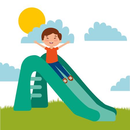 cute happy boy playing slider enjoying vector illustration