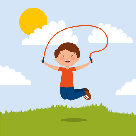 cute boy playing jumping rope in the park vector illustration Illustration