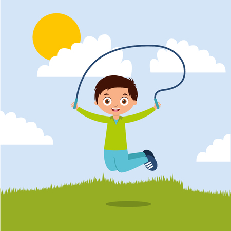 cute boy playing jumping rope in the park vector illustration Stock Illustratie