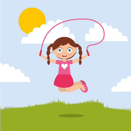 cute smiling girl jumping with skipping rope in the park vector illustration
