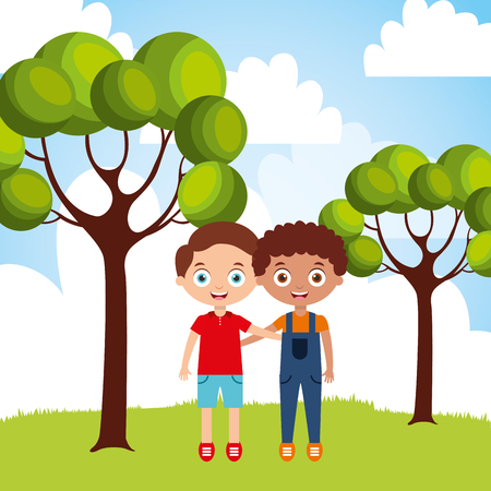cute happy friendly little boys embraced in the park vector illustration