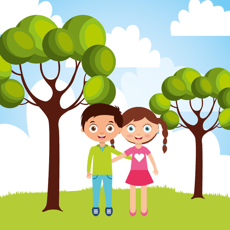 happy little boy and girl hugging friendship in the outside nature vector illustration design