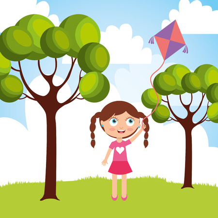 Beautiful little girl playing with kite in the park vector illustration
