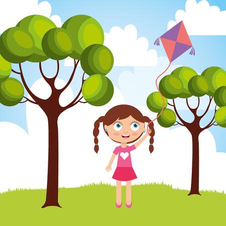 Het mooie meisje spelen met vlieger in de park vectorillustratie