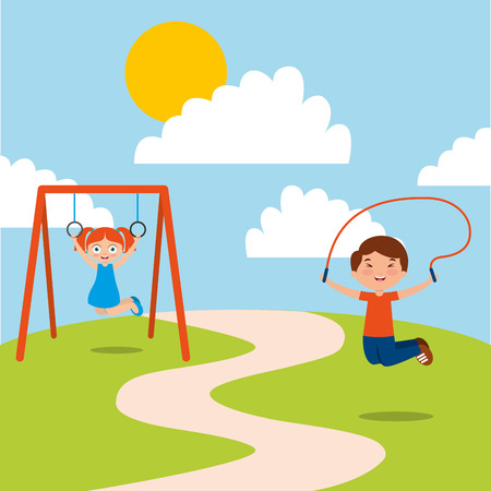 Happy kids playing jumping rope and bar monkey enjoy vector illustration