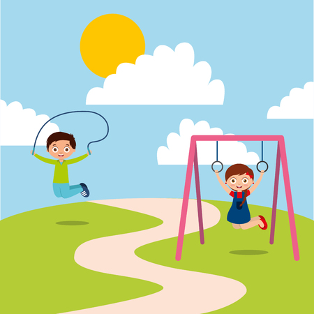 happy kids playing jum rope and bar monkey enjoy vector illustration