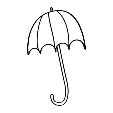 open umbrella protection climate accessory season vector illustration outline design