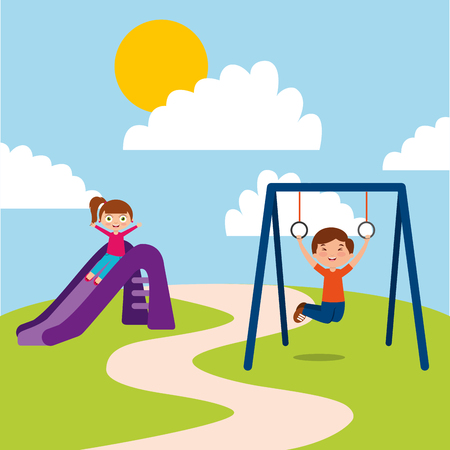 Cute happy little kids playing slide jump rope playground vector illustration Imagens - 96386999