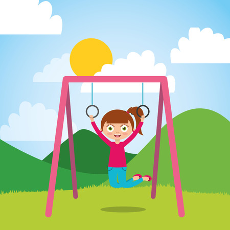 young girl playing with bar rings in the park and sunny day vector illustration Stock Illustratie