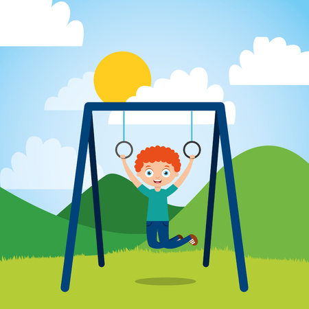young boy hanging rings bar in the park sunny day vector illustration
