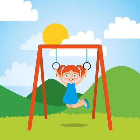 Jeune fille jouant avec des anneaux de bar dans le parc et journée ensoleillée illustration vectorielle Banque d'images - 96381328
