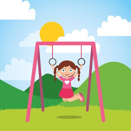 Jeune fille jouant avec des anneaux de bar dans le parc et journée ensoleillée illustration vectorielle Banque d'images - 96381332